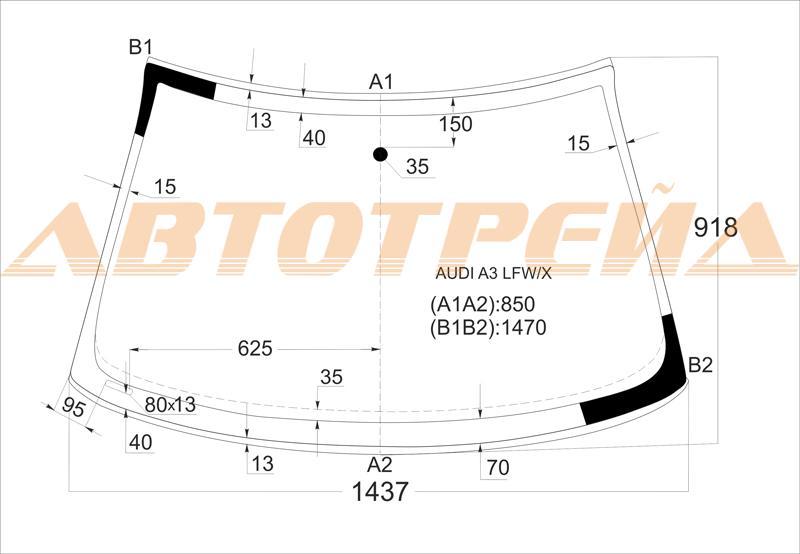 Автостекло Audi A3/S3, лобовое стекло Audi A3/S3, боковое стекло Audi A3/S3, заднее стекло Audi A3/S3