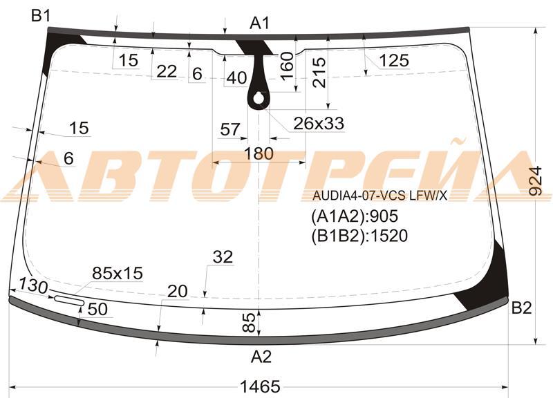 Лобовое стекло Audi A4, боковое стекло Audi A4, заднее стекло Audi A4