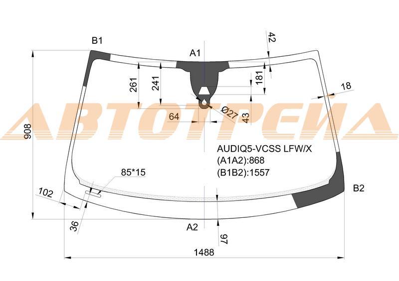 Лобовое стекло Audi Q5, боковое стекло Audi Q5, заднее автостекло Audi Q5
