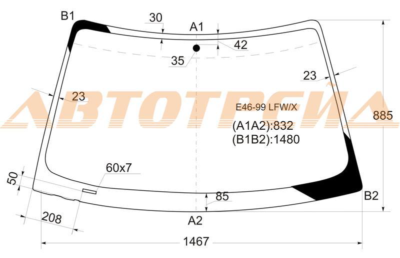 Лобовое стекло BMW 3 E46, боковое стекло BMW 3 E46, заднее автостекло BMW 3 E46