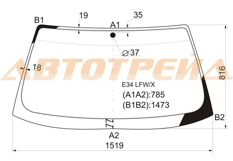 Лобовое стекло BMW 5 E34, боковое стекло BMW 5 E34, заднее автостекло BMW 5 E34