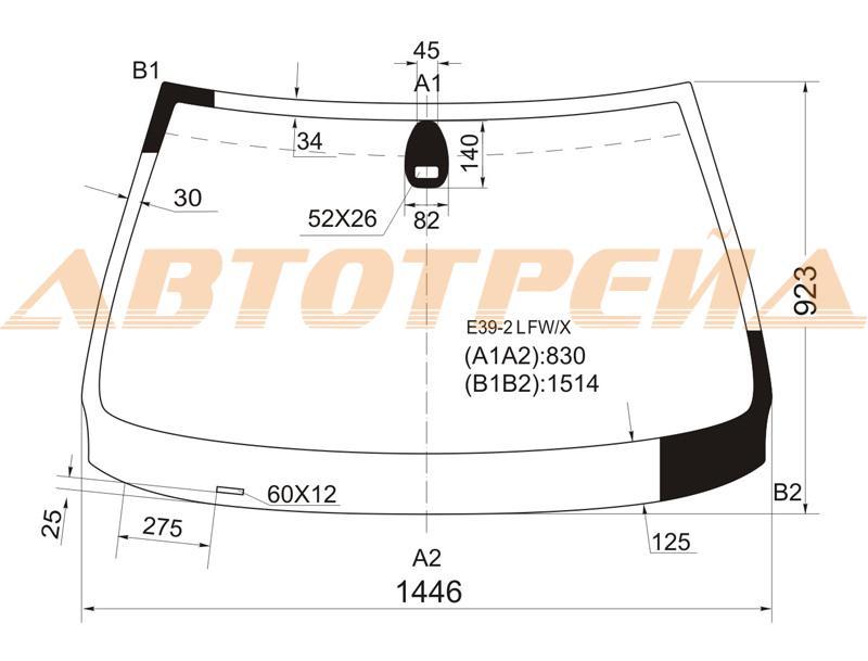 Лобовое стекло BMW 5 E39, боковое стекло BMW 5 E39, заднее автостекло BMW 5 E39
