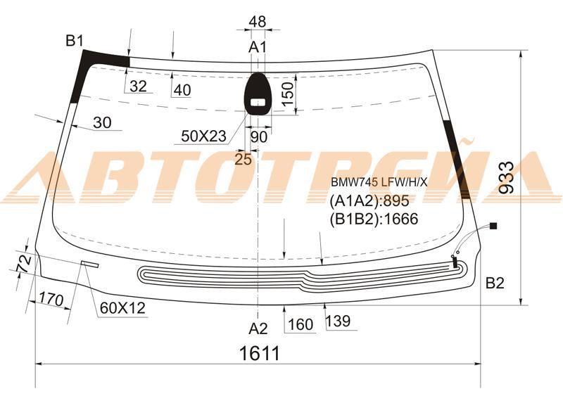 Лобовое стекло BMW 7 E65 / E66, боковое стекло BMW 7 E65 / E66, заднее автостекло BMW 7 E65 / E66