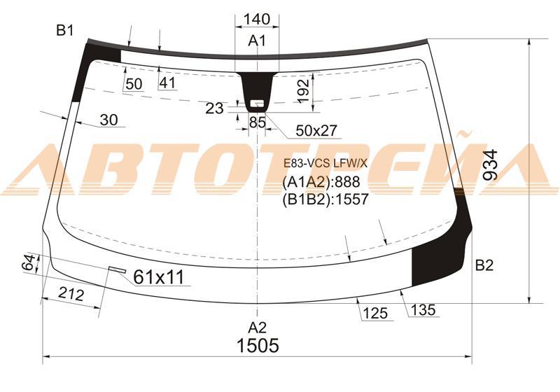 Лобовое стекло BMW X3 E83, боковое стекло BMW X3 E83, заднее автостекло BMW X3 E83