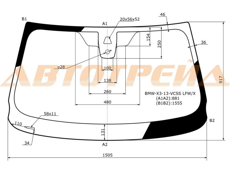 Лобовое стекло BMW X3 F25, боковое стекло BMW X3 F25, заднее автостекло BMW BMW X3 F25