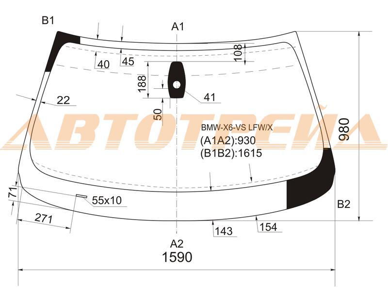 Лобовое стекло BMW X6 E71 2008-, боковое стекло BMW X6 E71 2008-, заднее автостекло BMW X6 E71 2008-