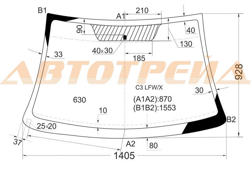 Продажа и замена автостекол Citroen C3 2002-2009. Лобовое, боковое, заднее автостекло Citroen C3 2002-2009