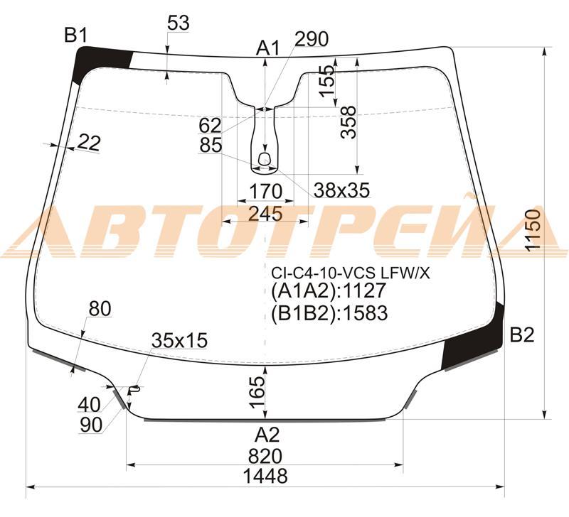Лобовое автостекло Citroen C4 2010-