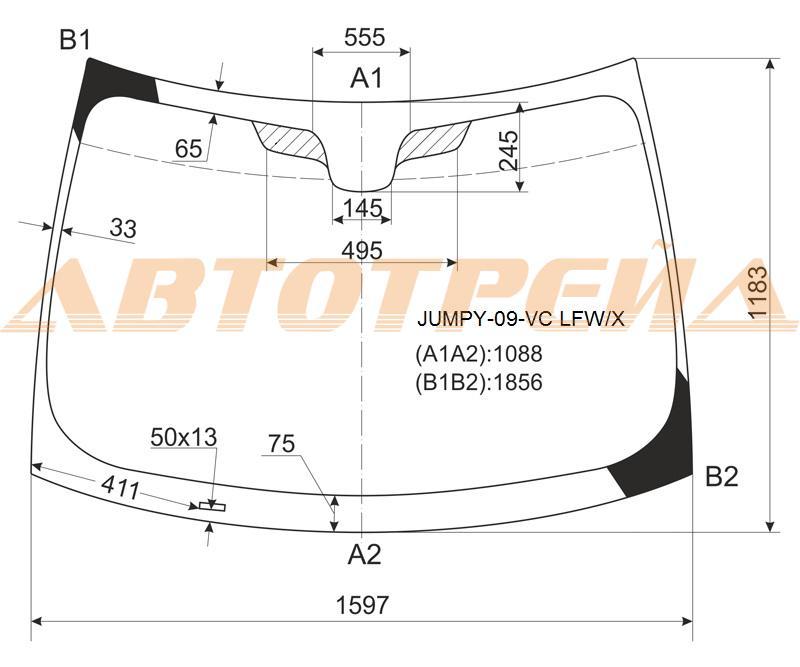 Продажа и замена автостекол Citroen Jumpy II. Лобовое, боковое, заднее автостекло Citroen Jumpy II