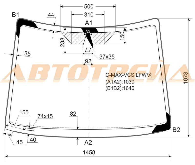 Продажа и замена автостекол Ford C-Max 2003. Лобовое, боковое, заднее автостекло Ford C-Max 2003