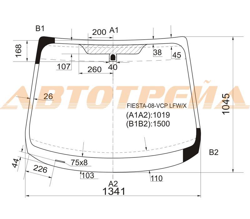 Продажа и замена автостекол Ford Fiesta 2008. Лобовое, боковое, заднее автостекло Ford Fiesta 2008