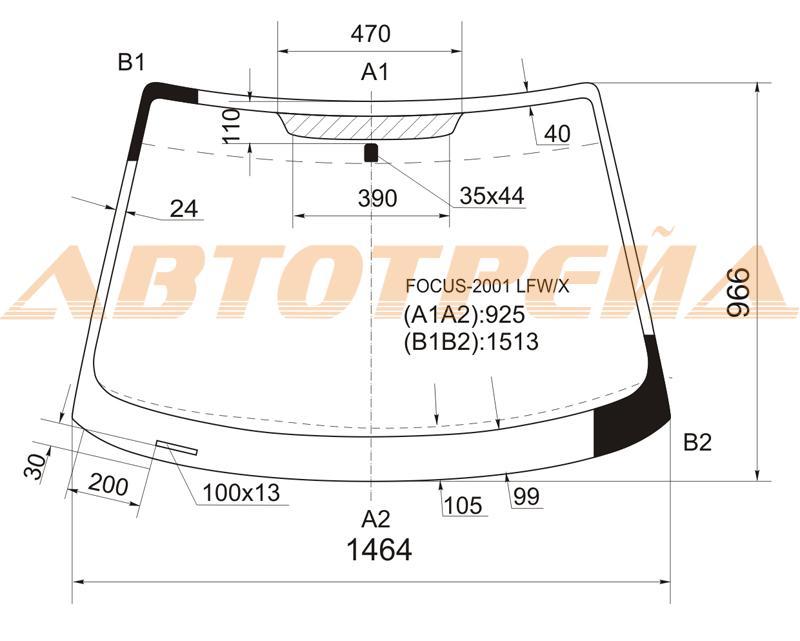 Продажа и замена автостекол Ford Focus I. Лобовое, боковое, заднее автостекло Ford Focus I