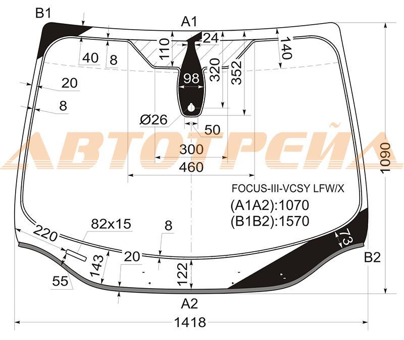 Продажа и замена автостекол Ford Focus III. Лобовое, боковое, заднее автостекло Ford Focus III