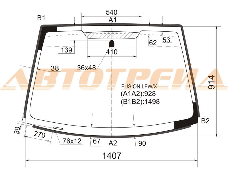 Продажа и замена автостекол Ford Fusion. Лобовое, боковое, заднее автостекло Ford Fusion