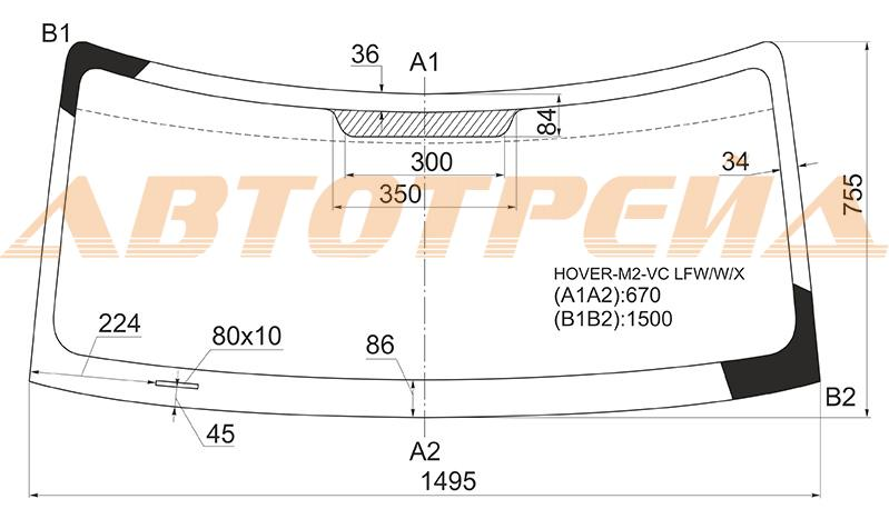 Продажа и замена автостекол Great Wall Hover M2. Лобовое, боковое, заднее автостекло Great Wall Hover M2