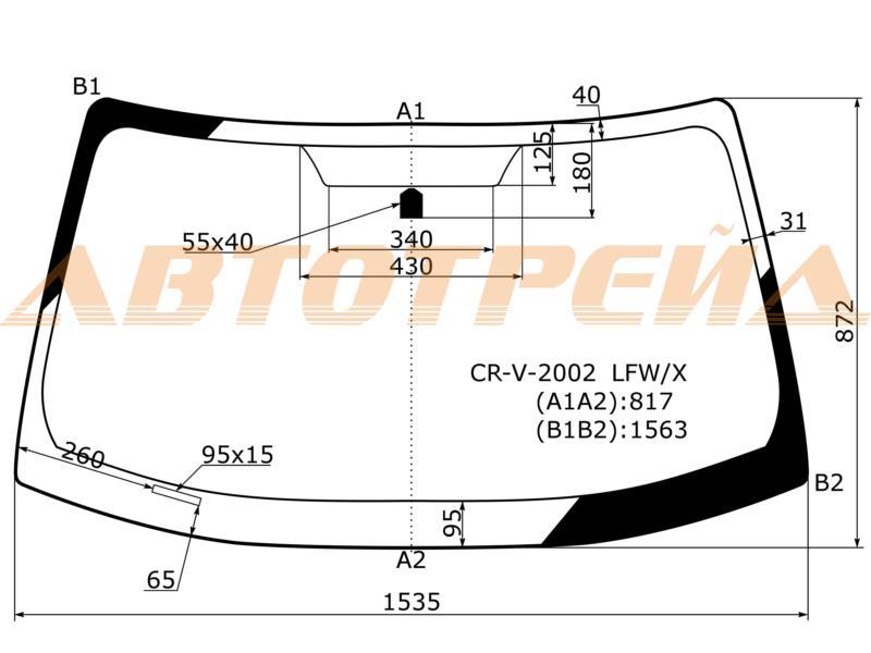 Продажа и замена автостекол Honda CRV2. Лобовое, боковое, заднее автостекло Honda CRV2
