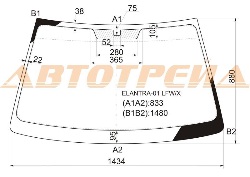 Продажа и замена автостекол Hyundai Elantra 2000. Лобовое, боковое, заднее автостекло Hyundai Elantra 2000