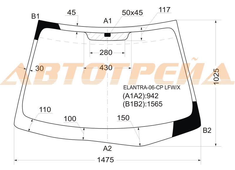 Продажа и замена автостекол Hyundai Elantra 2006. Лобовое, боковое, заднее автостекло Hyundai Elantra 2006