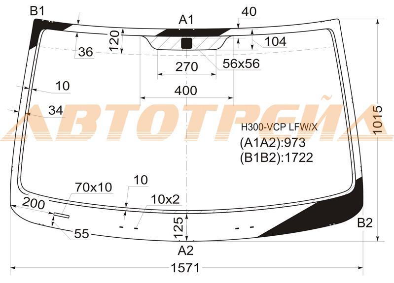 Продажа и замена автостекол Hyundai H1 2007. Лобовое, боковое, заднее автостекло Hyundai H1 2007