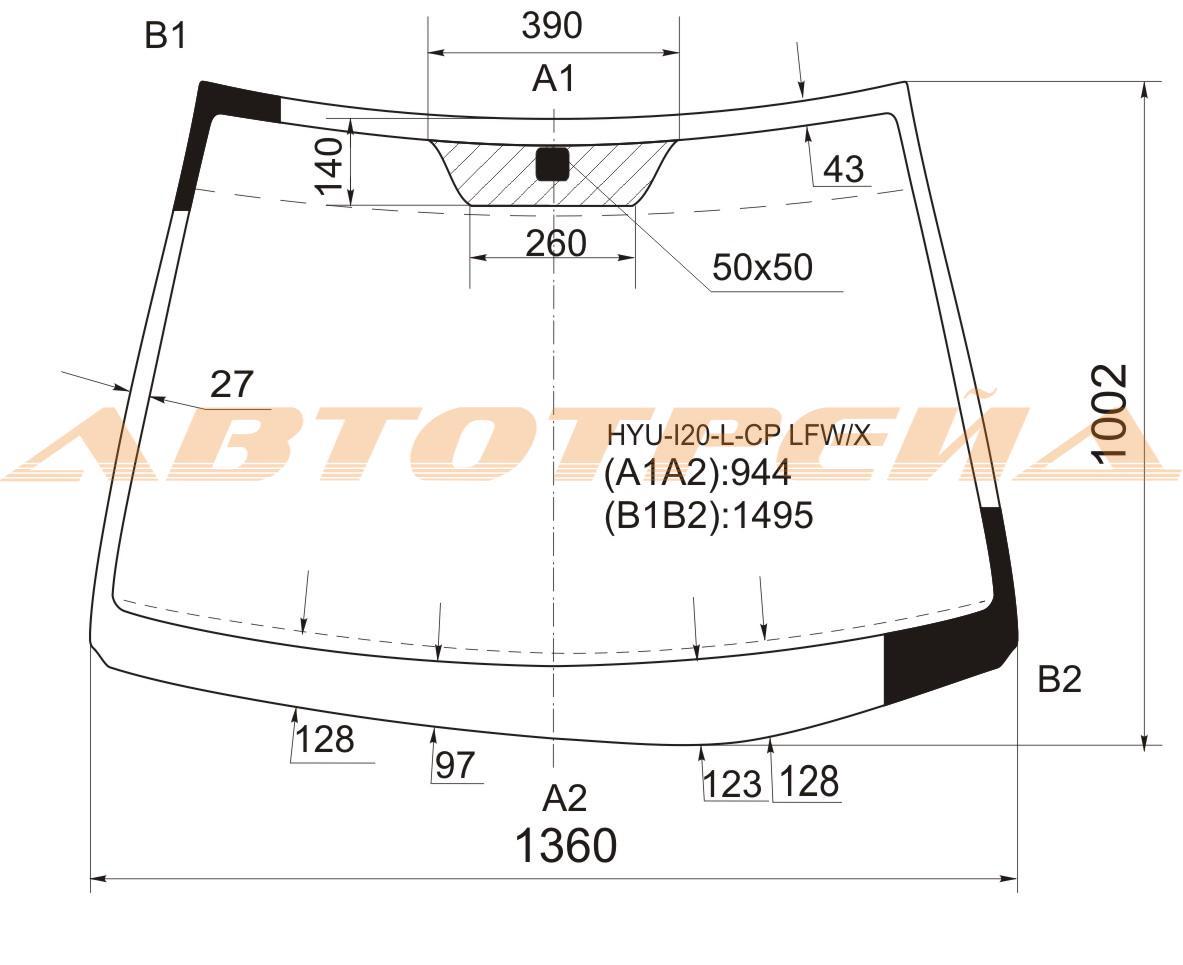 Продажа и замена автостекол Hyundai i20. Лобовое, боковое, заднее автостекло Hyundai i20