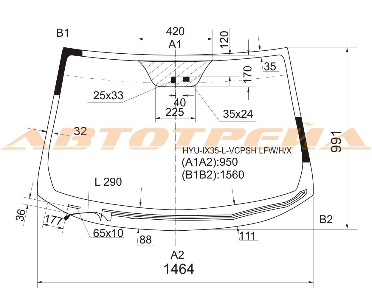 Продажа и замена автостекол Hyundai iX35. Лобовое, боковое, заднее автостекло Hyundai iX35