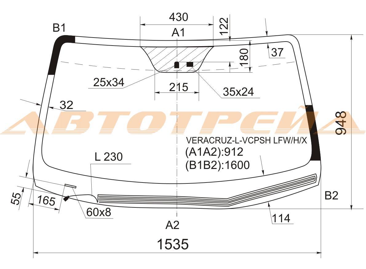 Продажа и замена автостекол Hyundai iX55. Лобовое, боковое, заднее автостекло Hyundai iX55