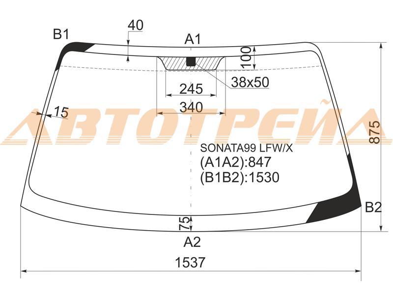 Продажа и замена автостекол Hyundai Sonata 1999. Лобовое, боковое, заднее автостекло Hyundai Sonata 1999