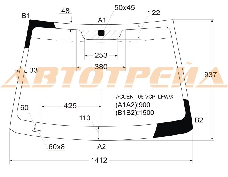 Продажа и замена автостекол Hyundai Verna. Лобовое, боковое, заднее автостекло Hyundai Verna