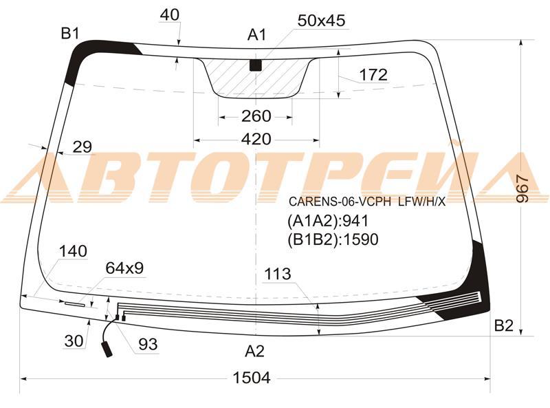Продажа и замена автостекол Kia Carens 3. Лобовое, боковое, заднее автостекло Kia Carens 3