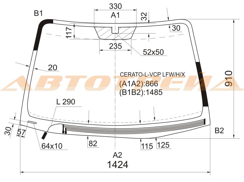 Продажа и замена автостекол Kia Cerato I. Лобовое, боковое, заднее автостекло Kia Cerato I