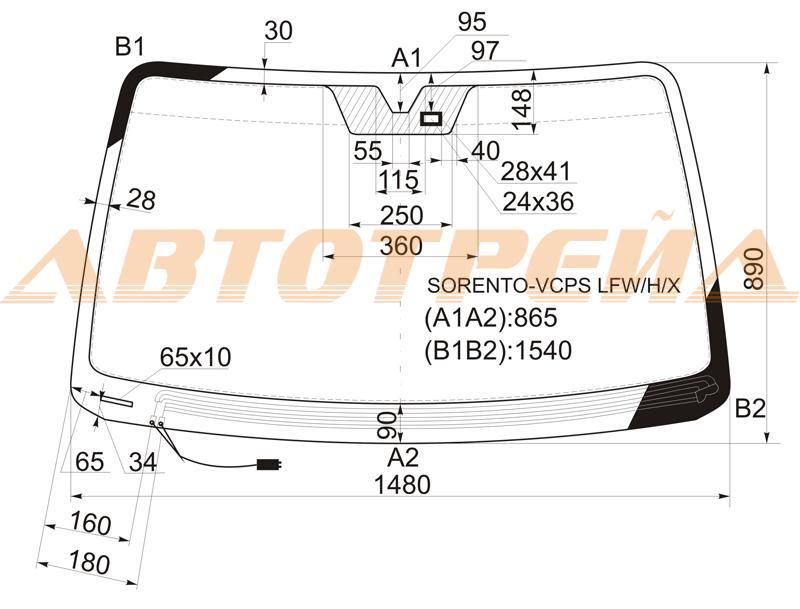 Продажа и замена автостекол Kia Sorento I. Лобовое, боковое, заднее автостекло Kia Sorento I