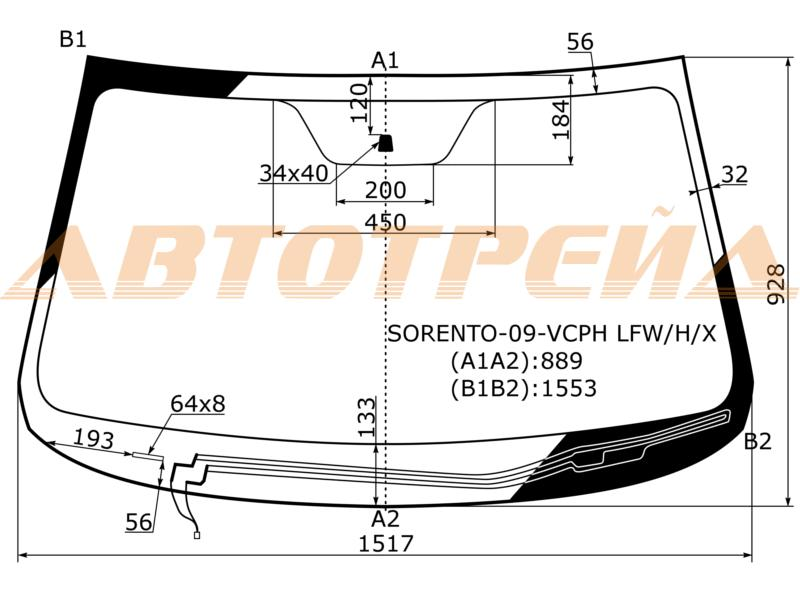 Продажа и замена автостекол Kia Sorento II. Лобовое, боковое, заднее автостекло Kia Sorento II