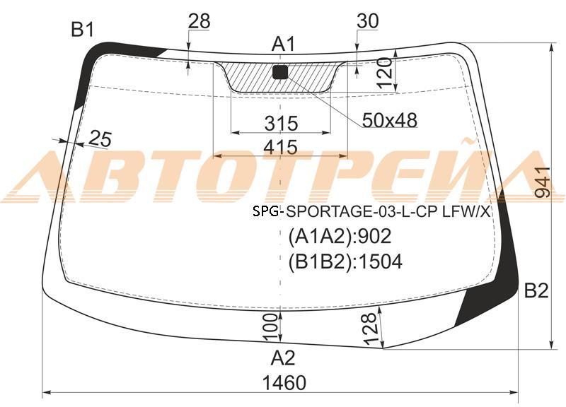 Продажа и замена автостекол Kia Sportage II. Лобовое, боковое, заднее автостекло Kia Sportage II