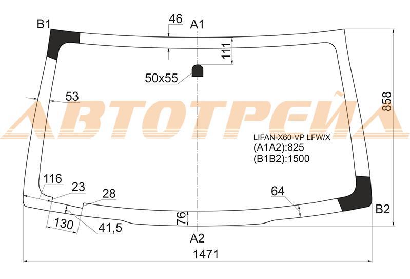Продажа и замена автостекол Lifan X60. Лобовое, боковое, заднее автостекло Lifan X60