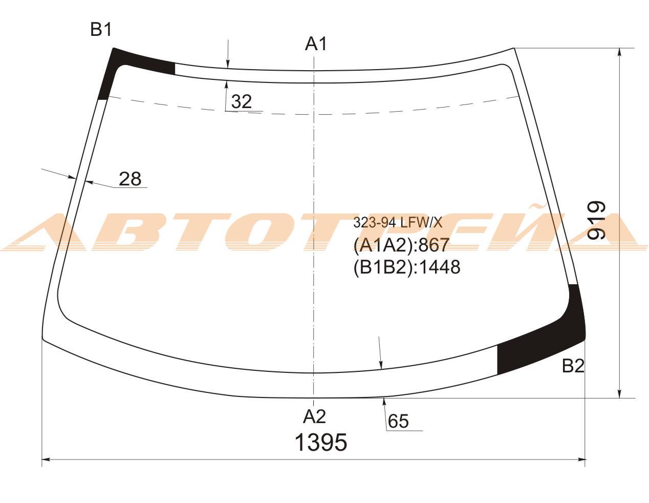 Продажа и замена автостекол Mazda 323. Лобовое, боковое, заднее автостекло Mazda 323
