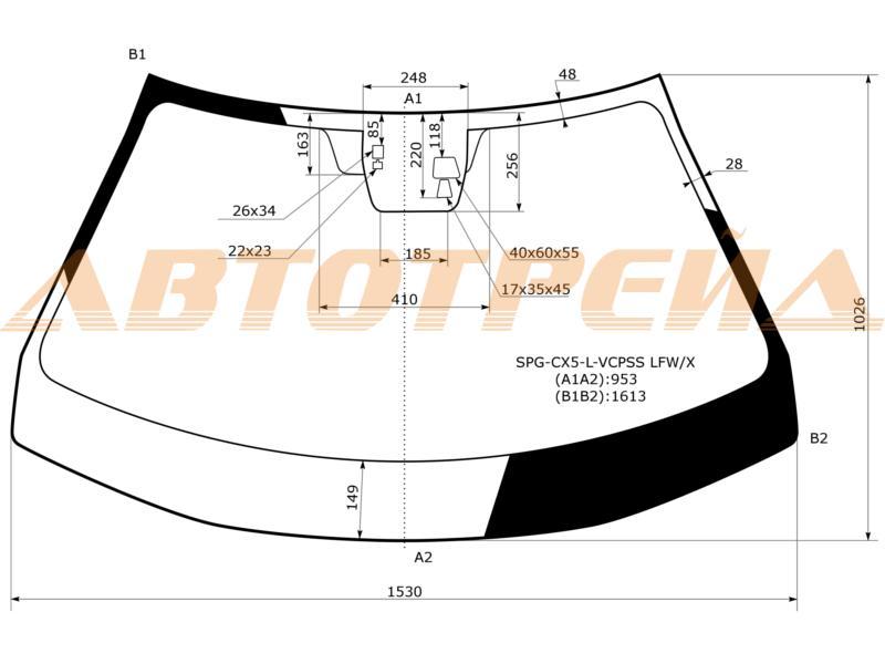 Продажа и замена автостекол Mazda CX-5. Лобовое, боковое, заднее автостекло Mazda CX-5