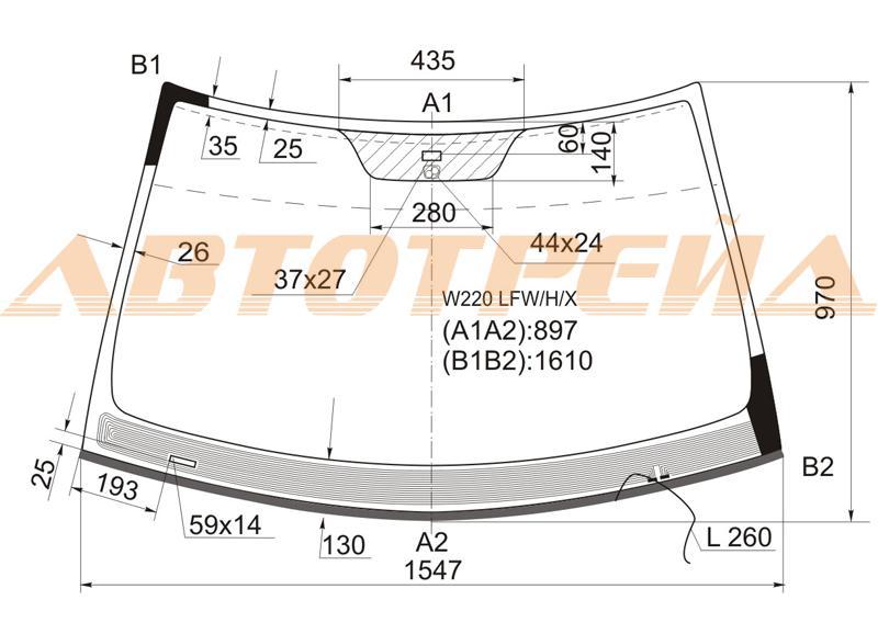 Продажа и замена автостекол Mercedes 220. Лобовое, боковое, заднее автостекло Mercedes 220