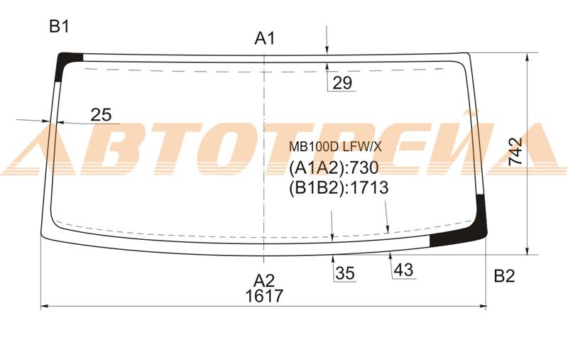 Продажа и замена автостекол Mercedes MB100. Лобовое, боковое, заднее автостекло Mercedes MB100