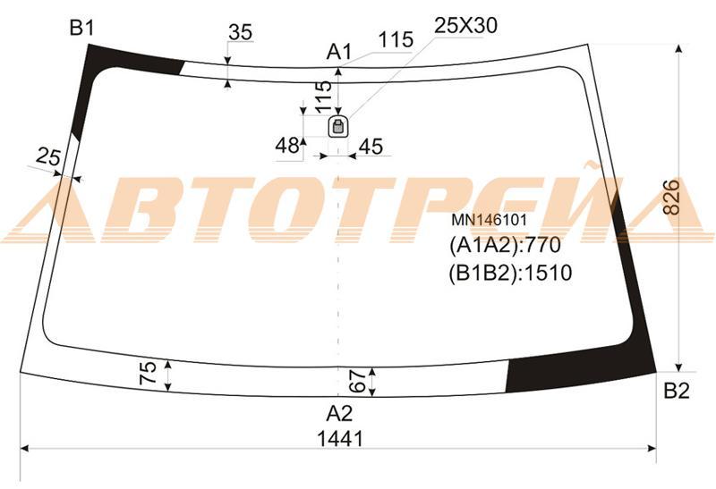 Продажа и замена автостекол Mitsubishi L200 III. Лобовое, боковое, заднее автостекло Mitsubishi L200 III
