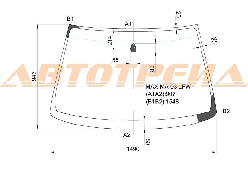 Продажа и замена автостекол Nissan Maxima A33. Лобовое, боковое, заднее автостекло Nissan Maxima A33