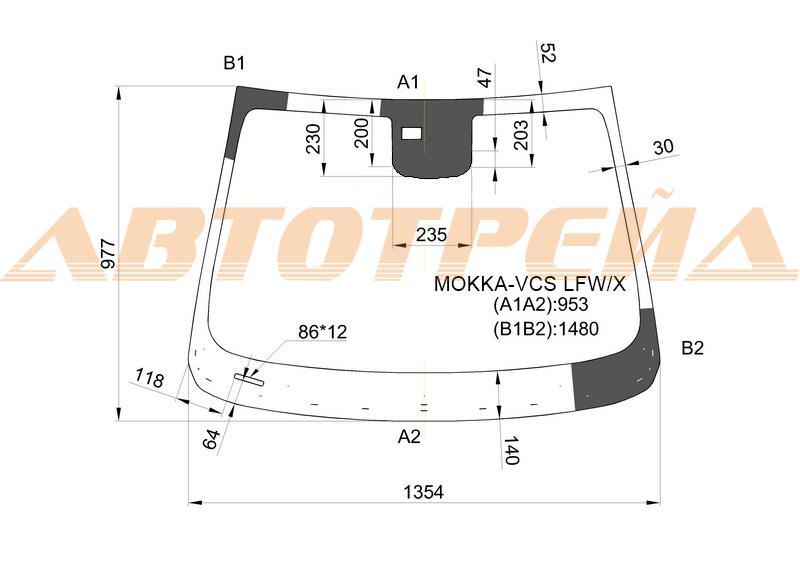 Продажа и замена автостекол Opel Mokka. Лобовое, боковое, заднее автостекло Opel Mokka