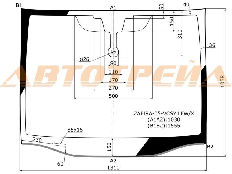 Продажа и замена автостекол Opel Zafira B. Лобовое, боковое, заднее автостекло Opel Zafira B