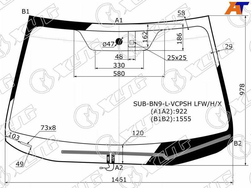 Лобовое стекло Subaru Legacy VI. Продажа и замена в Уфе.
